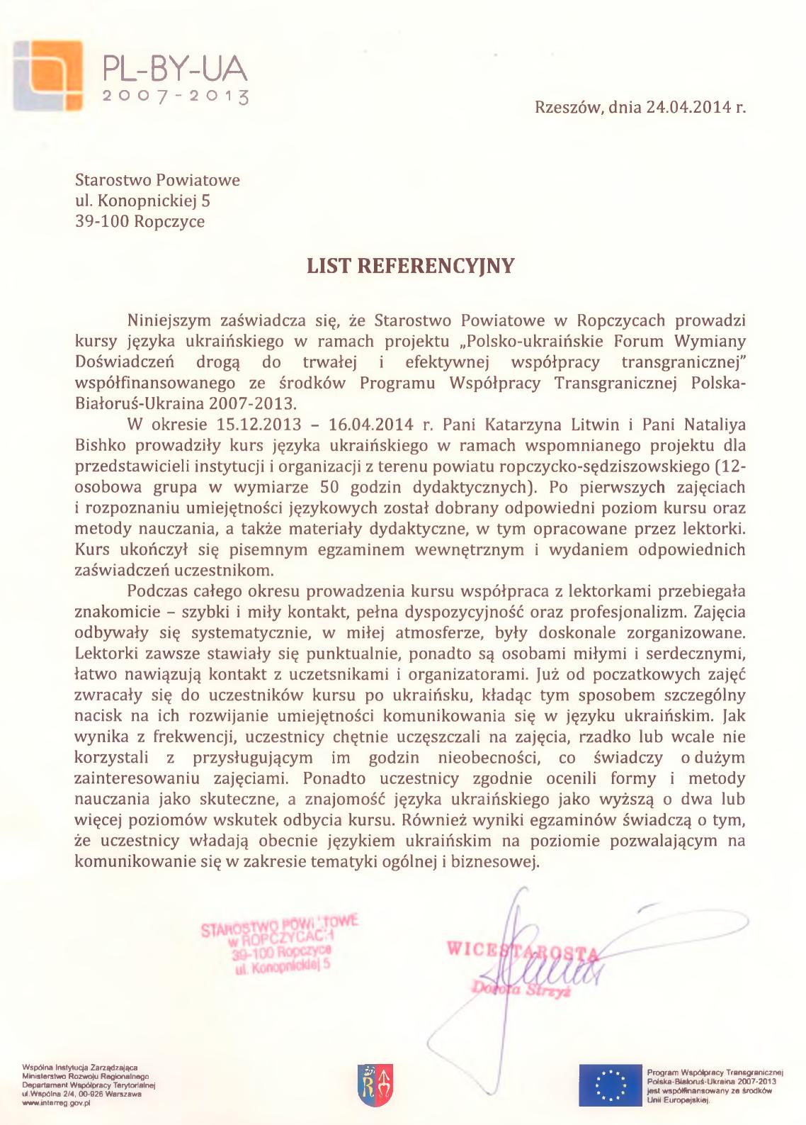 starostwo powiatowe ropczyce Kursy językowe